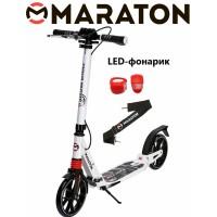 Самокат Maraton Decider (2020) белый + LED фонарик