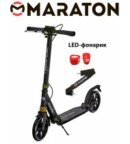 Самокат Maraton Decider (2020) черный + LED фонарик