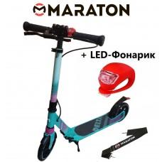Самокат Maraton Delta (2020) Бирюзовый + LED фонарик