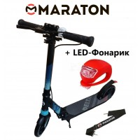 Самокат Maraton Delta (2020) Черный + LED фонарик