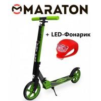 Самокат Maraton Fox Pro Зеленый + Led фонарик