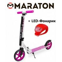 Самокат Maraton Fox Pro Розовый + Led фонарик