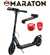 Самокат Maraton GMC Disc + LED фонарик (2020) Черный Изумруд