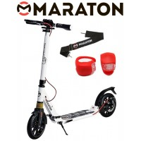 Самокат Maraton GMC Disc белый + LED фонарик (2020)
