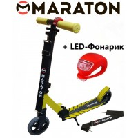 Самокат Maraton Sport 145 желтый + Led фонарик (2021)