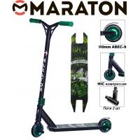Самокат трюковый Maraton Scorpion зеленый металлик 2021+ Пеги 2 шт