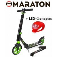 Самокат Maraton Pro зеленый + Led фонарик