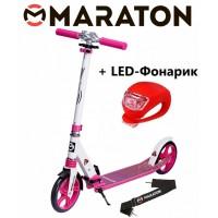 Самокат Maraton Sprint розовый + Led фонарик