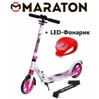 Самокат Maraton Pro рисунок розовый + Led фонарик
