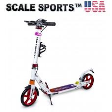 Самокат Scale Sports SS-10 Белый 2021 + Led фонарик USA розовый