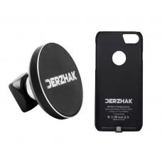 Автодержатель беспроводная зарядка DERZHAK  U1 + чехол IPhone 6 Plus, 6s Plus, 7 Plus черный