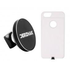 Автодержатель беспроводная зарядка DERZHAK  U1 + чехол IPhone 6, 6s, 7 белый