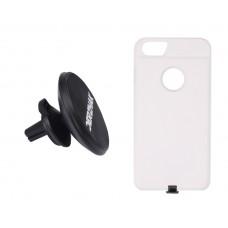 Автодержатель беспроводная зарядка DERZHAK  V1 + чехол iPhone 6 plus, 6s plus, 7 plus белый